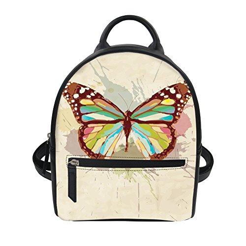Damen Rucksack Tier Druck Rind Blumen Kleiner Rucksack PU Leder Rucksack Schultasche Casual Daypack Mini Backpack Schulrucksack Schulrucksäcke Schmetterling ONE Size