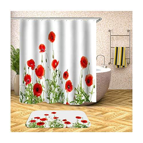 Beydodo Badematten Set 2 Teilig Duschvorhang Vintage 90x180 Rot Blume 40x60 cm Badematten für Stand WC