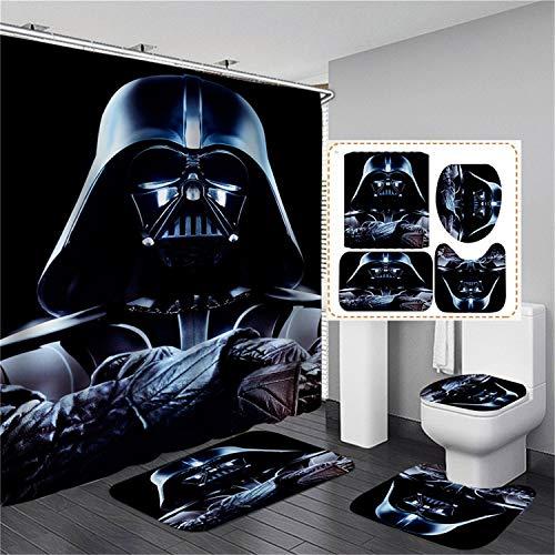 xingy&eshoop Duschvorhang-Star Wars Verdickt Wasserdichtes Und Schimmelresistentes Badezimmer, Hotel Polyester Stoff-Vierteiliges Badezimmer 120X180Cm