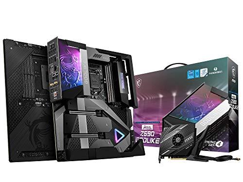MSI MEG Z590 GODLIKE Gaming Mainboard E-ATX, unterstützt Intel-Prozessoren 11. Generation, LGA 1200, OLED & RGB, 20-Phasen-90A-VRM, DDR4-Boost (5600MHz/OC), 2x PCIe 4,0x16, 4x M.2 Gen 4/3 x4, Wi-Fi 6E