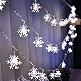 Christmas Decorations HuTools Christmas Snowflake Led Lights 16.5ft 50 LED Battery-Operated Fairy String Lights Snowflake Decorations for Home, Church, Wedding, Birthday Party(Snowflakes White)