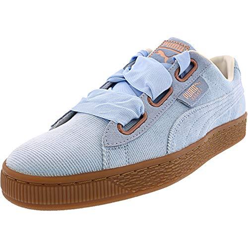 PUMA Zapatillas deportivas de pana para mujer con diseño de corazón, azul (Cerúleo/Cerúleo), 39 EU