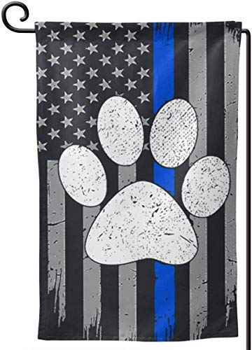 Thin Blue Line American Flag K9 Paw Garden Flag Double-Sized Print Decorative Holiday Home Flag12.5 X 18 Inch Two Sided Inches