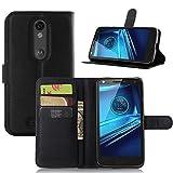 Ycloud Tasche für Motorola Moto Droid Turbo 2 Hülle, PU Ledertasche Flip Cover Wallet Hülle Handyhülle mit Stand Function Credit Card Slots Bookstyle Purse Design schwarz