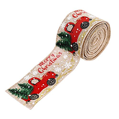 Christmas Ornament Ribbon DIY Fabric Satin Ribbon Burlap Ribbon with Wired Edge Gift Wrapping Crafts 5M Christmas Tree Ribbon Wreath Bows Trims Decorations 50mm