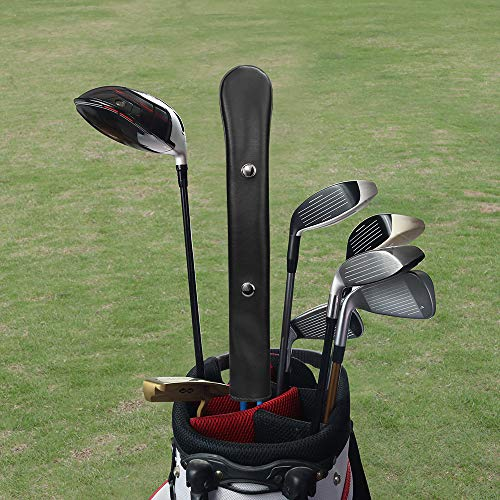 Craftsman Golf Classic Well Made Black White Red Gray Leather Alignment Stick Cover Holder 14' Hold at Least 3 Sticks (Black)