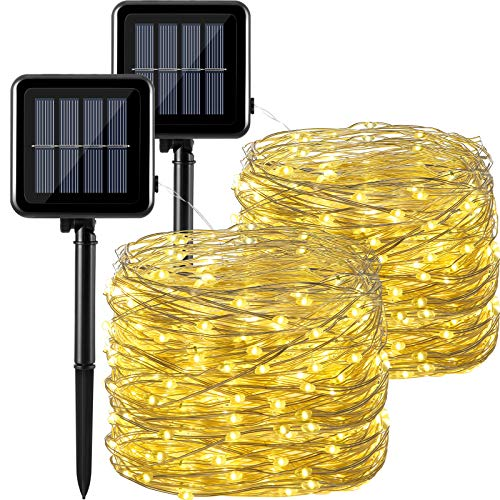 2 Pieces Solar String Lights 300 LEDs 105 ft Solar Fairy Lights 8 Modes Outdoor Waterproof Christmas Lights String for Christmas, Garden, Party, Yard, Indoor or Outdoor (Warm White)