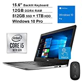 2020 Newest Dell Inspiron 15 3593 15.6 Inch FHD 1080P Touchscreen Laptop (10th Gen 4-Core i5-1035G1, 12GB RAM, 512GB SSD (Boot) + 1TB HDD, Backlit KB, Win10 Pro, Silver) + NexiGo Wireless Mouse Bundle