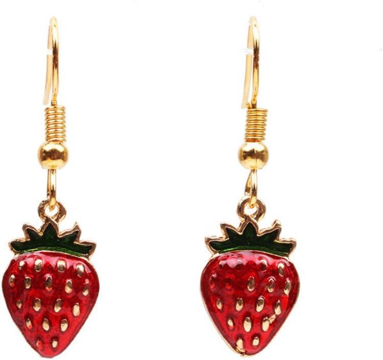 yihan jewelry 18K Gold Plated Lovely Fruit Red Strawberry Charm Long Tassel Drop Dangle Earrings