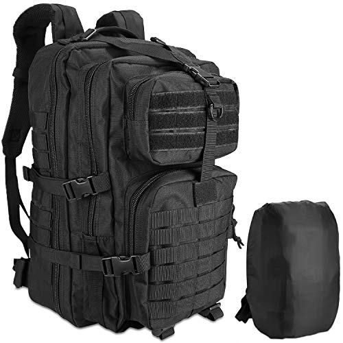 ProCase Military Tactical Backpack, 48L Large Rucksack 3 Day Outdoor Army Assault Molle Pack Go Bag Backpacks -Black