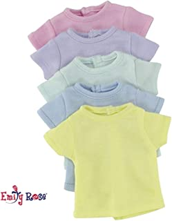 Emily Rose 14 Inch Doll Clothes/Clothing | Rainbow T-Shirts Value Set - 5 Different Pastel Colors | Fits American Girl Wellie Wishers Dolls