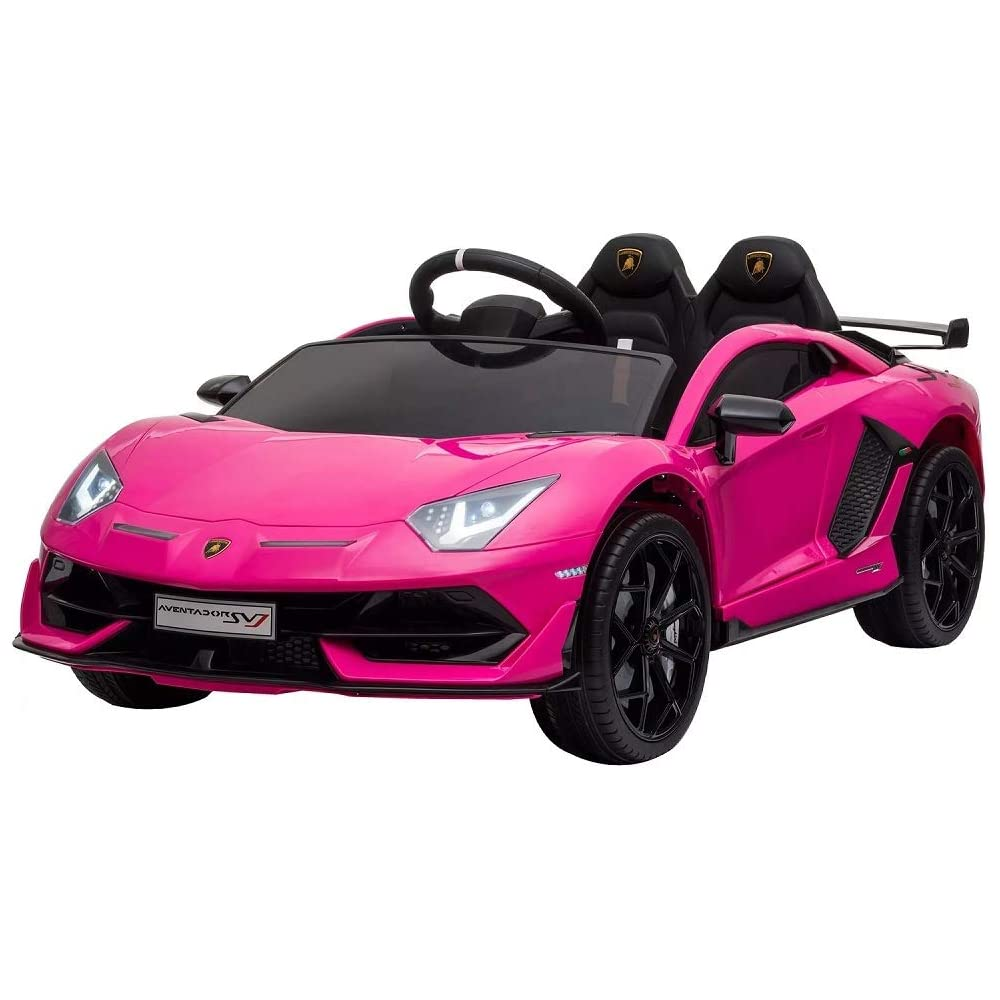 tecnobike shop auto elettrica per bambini lamborghini aventator sv j 12v telecomando suoni luci led (rosa)