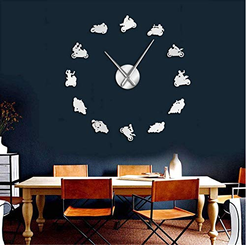Motocross Sport Bike Wall Art Home Decor DIY Giant Wandklok Horloge Extreme Sport Motorbike Super Bike Speed Racer Bikers Gift