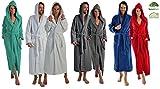 Albornoz largo o extra largo para hombre y mujer, de100% de algodón orgánico, con capucha, en 5colores, de talla S a XXXXL, Bordeaux 125 Cm, XL