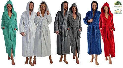 Naturawalk lange of extra lange badjas voor dames en heren van 100% biologisch katoen met capuchon in 5 kleuren, S tot XXXXL