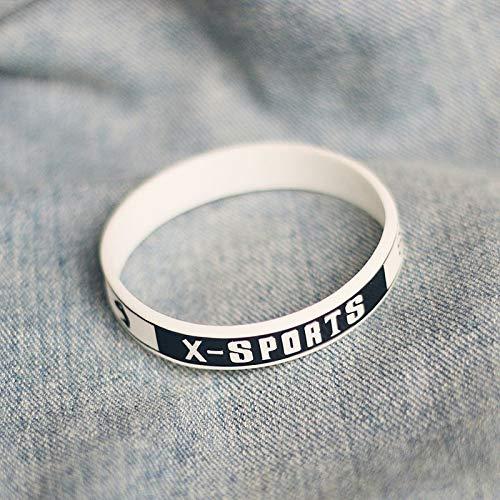 Xi-Link Bracelet en Silicone Sport Extrême Parkour Petit Bracelet Marée Anneau Bracelet Silicone Fitness Basket-Ball De Planche À roulettes (Color : White)