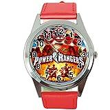 Taport® Power Rangers - Reloj de cuarzo redondo con correa de piel roja + batería + bolsa de regalo