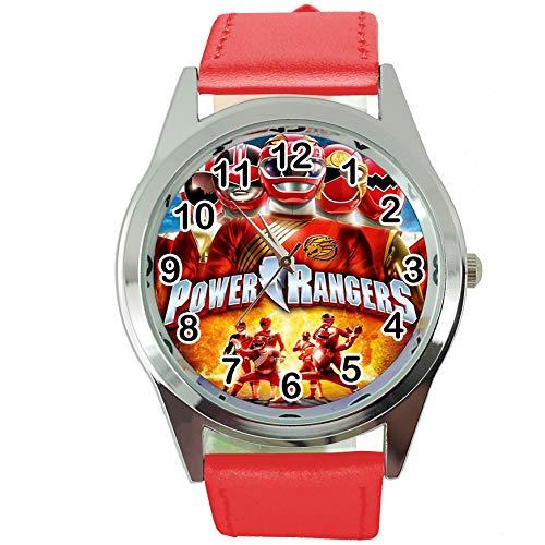 Taport® Power Rangers - Orologio rotondo al quarzo, cinturino in pelle rossa + batteria + sacchetto regalo