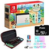 Newest Nintendo Switch Animal Crossing: New Horizons Edition with Green and Blue Joy-Con - 6.2' Touchscreen Display, USB-C, WiFi, 32GB Storage - Green and Blue - 128GB SD Card + 12-in-1 Carrying Case