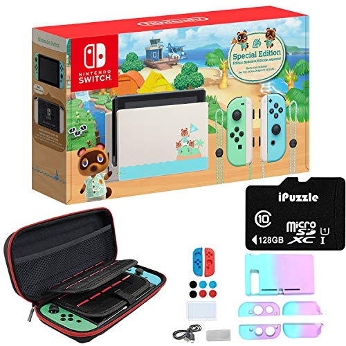 Newest Nintendo Switch Animal Crossing: New Horizons Edition with Green and Blue Joy-Con - 6.2 Touchscreen Display, USB-C, WiFi, 32GB Storage - Green and Blue - 128GB SD Card + 12-in-1 Carrying Case