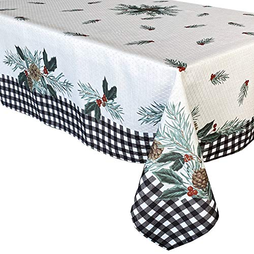 Lintex Festive Berry Black Plaid Country Rustic Bordered Christmas Tablecloth, Cottage Check and Holly Bordered Xmas and Holiday Print Easy Care Fabric Tablecloth, 60 Inch x 120 Inch Oblong/Rectangle