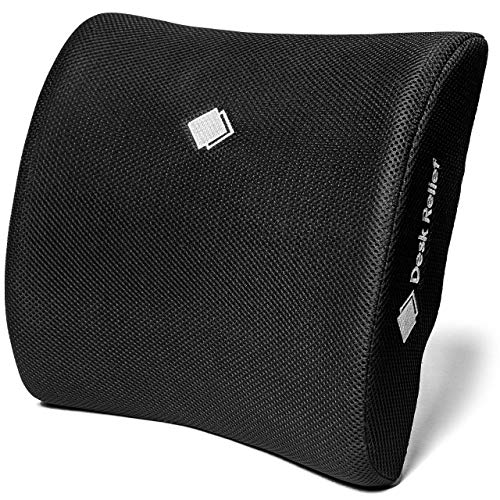 Desk Relief Lumbar Support Cushion - Memory Foam Back Support Pillow to Relieve & Prevent Back Pain and Improve Posture - For Office Chair, Home, Car - Includes Travel Bag & Sit Healthy App