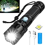 Rechargeable LED Flashlights High Lumens, Super Bright 10000 Lumens, Powerful Tactical Flashlights with 5 Lighting Modes, 26650 Batteries, Zoomable, Waterproof IPX5 for Camping, Emergencies