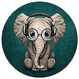 ITNRSIIET Alfombrilla Raton Gaming,Mouse Pad Impermeable,Almohadilla para Ratón Base de Goma Antideslizante,Mousepad Redonda,para Oficina PC Ordenador Jueg, Elefante Lindo