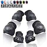 Wemfg Kids Protective Gear Set Knee Pads for Kids 3-8 Years Toddler Knee and Elbow Pads with Wrist Guards 3 in 1 for Skating Cycling Bike Rollerblading Scooter(Black)