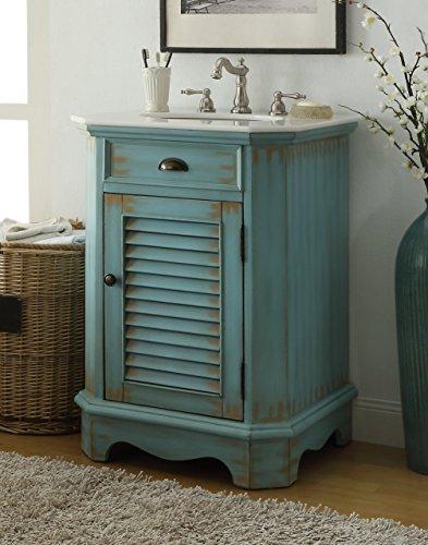 "Chans Furniture 24"" Cottage Look Junior Abbeville Bathroom Sink Vanity Model CF47523BU (Light Blue)"