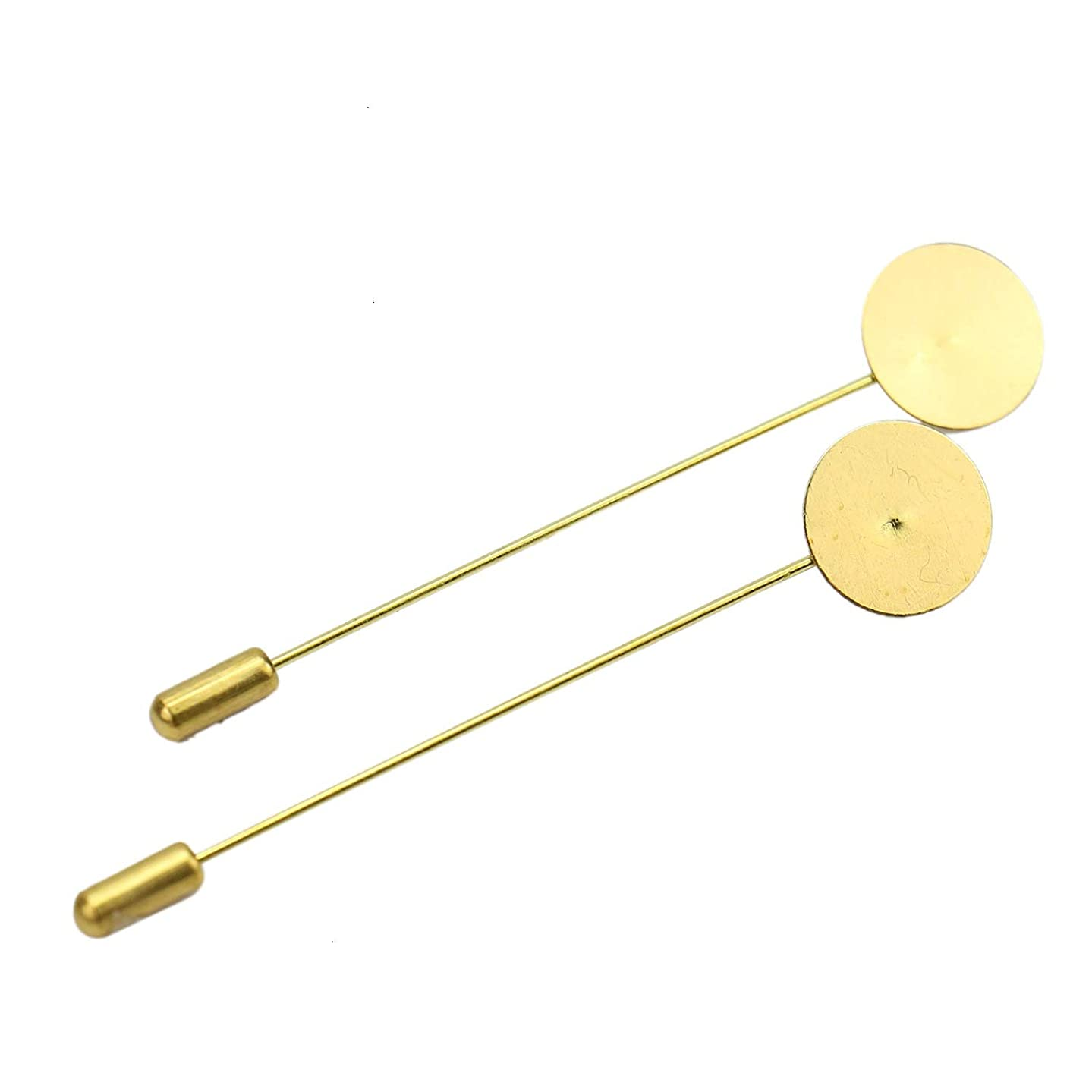 Monrocco 50 Pcs Gold Tone Round Tray Lapel Pin Safety Pins Brooches Blank Brooch Pin for Men Women Suit Tie Hat Scarf Badge DIY Jewelry Accessories