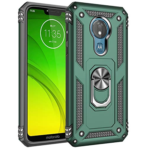 """Motorola Moto G7 Case, Extreme Protection Military Armor Dual Layer Protective Cover with 360 Degree Unbreakable Swivel Ring Kickstand for Motorola Moto G7 6.2"""" Jade Green"""