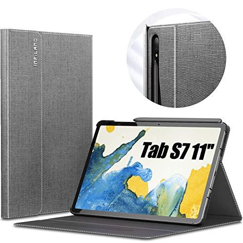 INFILAND Hülle für Samsung Galaxy Tab S7 11 2020, Hochwertige mit Mehreren Winkeln Schutzhülle Tasche für Samsung Galaxy Tab S7 11 (T870/T875) 2020, Auto Schlaf/Wach,Grau