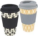 com-four® 2X Coffee to go Becher aus Bambus - Kaffeebecher to go - Kaffee to go - wiederverwendbarer Trinkbecher - Reisebecher mit Deckel (02 Stück - dunkelgrau/schwarz)
