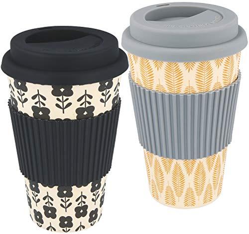 com-four® 2X Café à emporter Tasse en Bambou, Tasse biodégradable (Gris foncé/Noir)