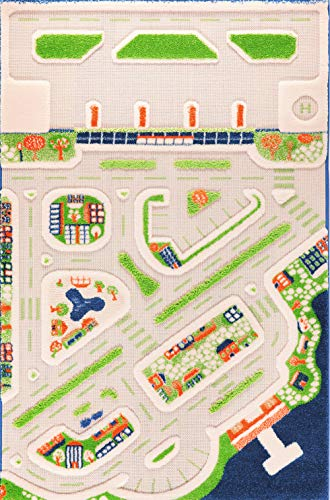 IVI Mini City Thick 3D Kids Car Rug, 39 x 59 inches