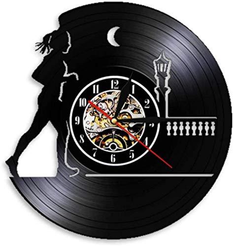 Deporte Correr Disco de Vinilo Reloj de Pared Decoración Colgante de Pared Hogar Correr por la Noche Reloj Correr Corredor Mujer Regalo con led-No_Led