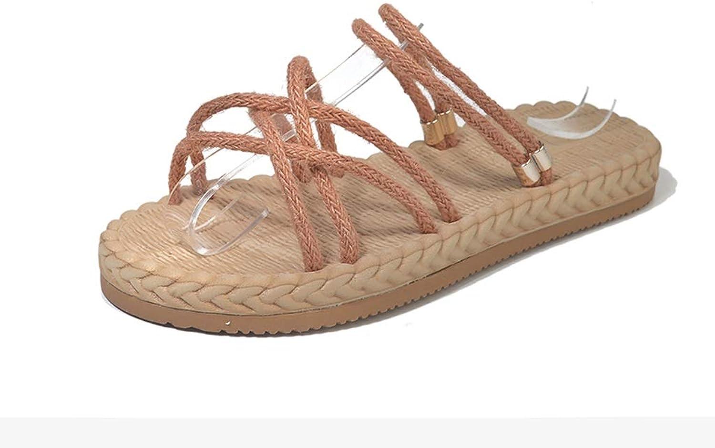 Hemp Rope Slippers Flat Beach Sandals Slippers for Walking Hiking Tourism Wedding Water Beach