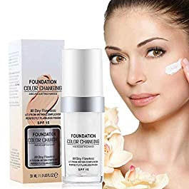 Concealer Cover Cream, Flawless Colour Changing Foundation Makeup, Warm Skin Tone Foundation liquid Base Nude Face Moisturizing Liquid Cover Concealer for Women and Girls