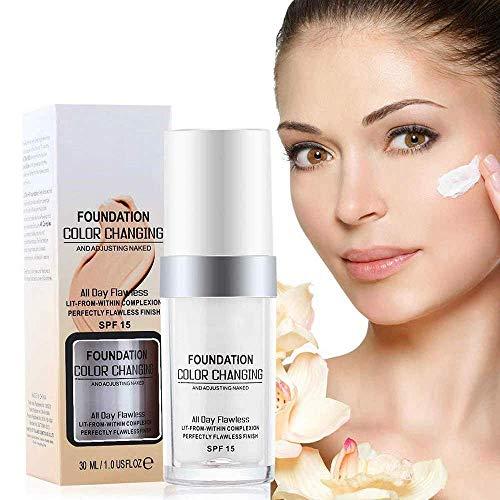 TLM Concealer-Abdeckcreme, makelloses Make-up für farbwechselnde Grundierungen, flüssige Basis für warme Hauttöne Nude Face Moisturizing Liquid Cover Concealer für Frauen und Mädchen