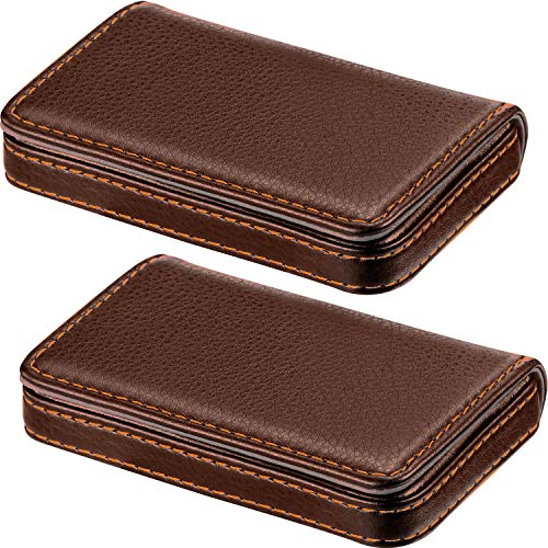 2 Pieces Business Card Holder Business Card Wallet PU Leather Card Case with Magnetic Shut (Coffee and Coffee)
