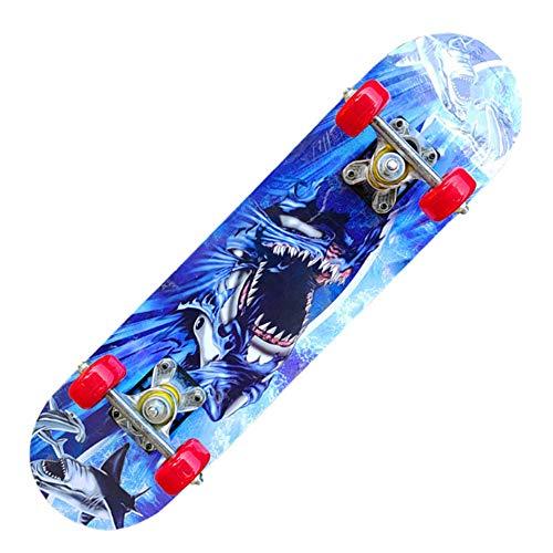 Z-Meng Zhong Skateboard 23 Pulgadas Monopatín Profesional Versión Completa, para Niñas, Niños, Monopatines Adecuados para Niños De 6 A 12 Años (Sea Wolf-Butterfly Bracket)
