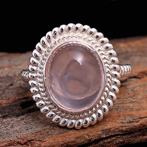 Rose-Quartz 925 Sterling Silver Rings for Women, Light-Pink Bridesmaid Rings, Oval Gemstone Rings, Statement Rings, bezel Set Handmade Rings
