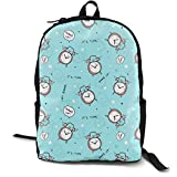 zhengchunleiX Travel Daypacks,Casual Rucksack,Sports Book Bags,Pattern with Alarm Clocks Unique Mochila Durable Oxford Outdoor College Students Busines Laptop Computer Shoulder Bags