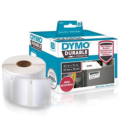Dymo 1933084 LW Hochleistungs-industrieetiketten (für LabelWriter-Etikettendrucker, weißes Polyester, 57 mm x 32 mm) Rolle mit 800 Etiketten