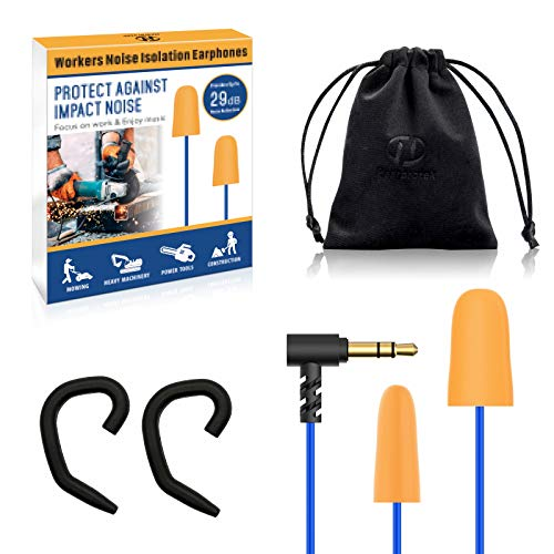 Hearprotek Foam Ear Plugs Headphones, Safety Work Ear Plug Earbuds Earphones for Hearing Protection Noise Isolation-Great for Work, Construction, Heavy Machinery