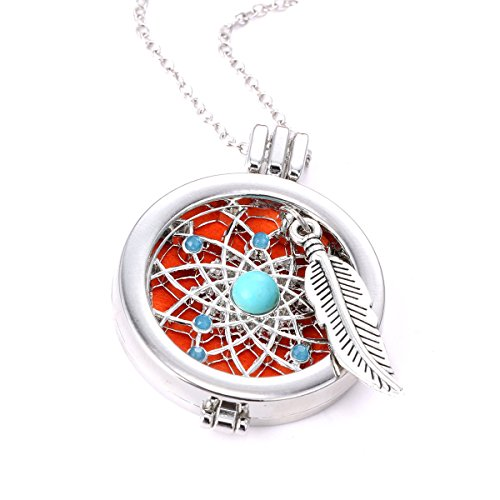 Dream Catcher Locket Necklace Turquoise Feather Coin Pendant Aromatherapy Essential Oil Diffuser Jewelry