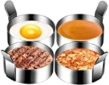 Winkeyes 4pcs 3.5 Inch Stainless Steel Round Pancake Rings Egg Rings, Non Stick Fried Egg Mold, Pancakes Maker Molds, Breakfast Egg Sandwich Cooker Maker (3.5inch)