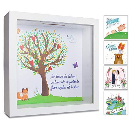 GLÜCKSWOLKE - Hucha con diseño de árbol de la vida I Regalo para bautizo, comunión, confirmación, graduación o bautizo I Regalo niña niño I Marco de fotos 3D I Hucha para dinero