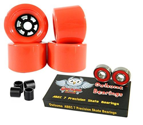 Owlsome 97mm Wheels Longboard Flywheels ABEC 7 Precision Bearings (Red)